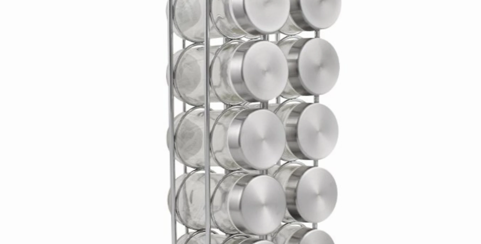 10 Jar Stainless Steel Spice Rack with Spices