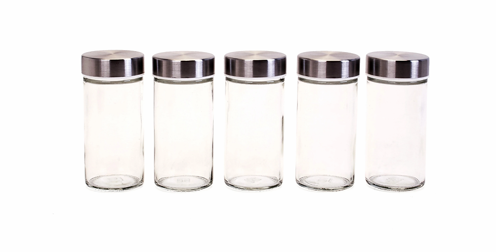 3oz Jars with Stainless Steel Lids - Set of 5
