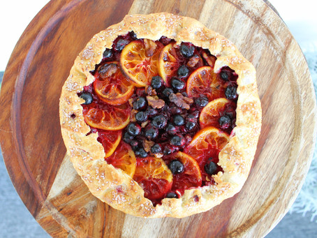 Rustic Cranberry Crostada with Candied Oranges