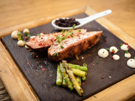 Seared Duck Breast with Pink Peppercorn Pickled Grapes & Golden Beet Puree