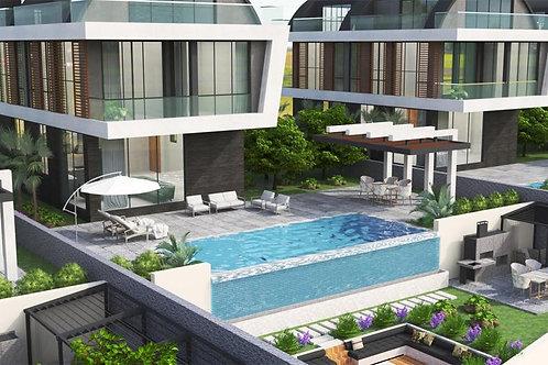 6+1 Villas with Pool, Garden and Seaview in Kargicak, Alanya