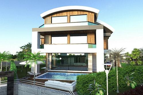 3+1/4+1 Villas with Pool, Garden and Seaview in Kargicak, Alanya