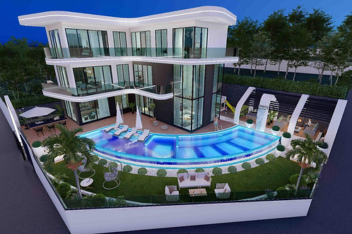 6+1 Villa with Pool, Garden and Seaview in Kargicak, Alanya