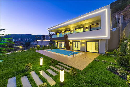 4+1 Villas with Pool, Garden and Seaview in Tepe, Alanya