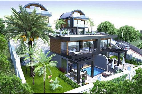 3+1/4+1 Villas with Pool, Garden and Seaview in Bektas, Alanya