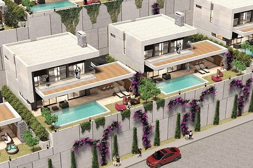 3+1 Villas with Pool, Garden and Seaview in Kargicak, Alanya
