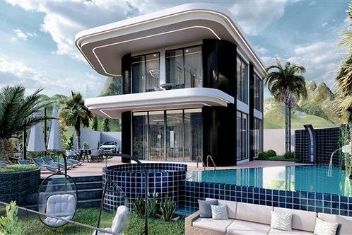 3+1 Villa with Pool, Garden and Seaview in Mahmutlar, Alanya