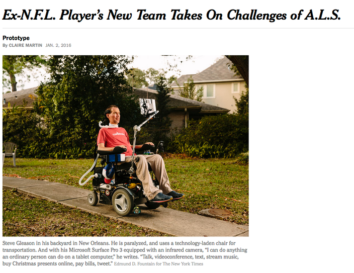 NY Times Article on Steve Gleason