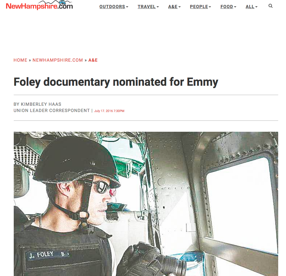 The documentary about a courageous New Hampshire journalist who lost his life to the Islamic State two years ago has been nominated for an Emmy Award.