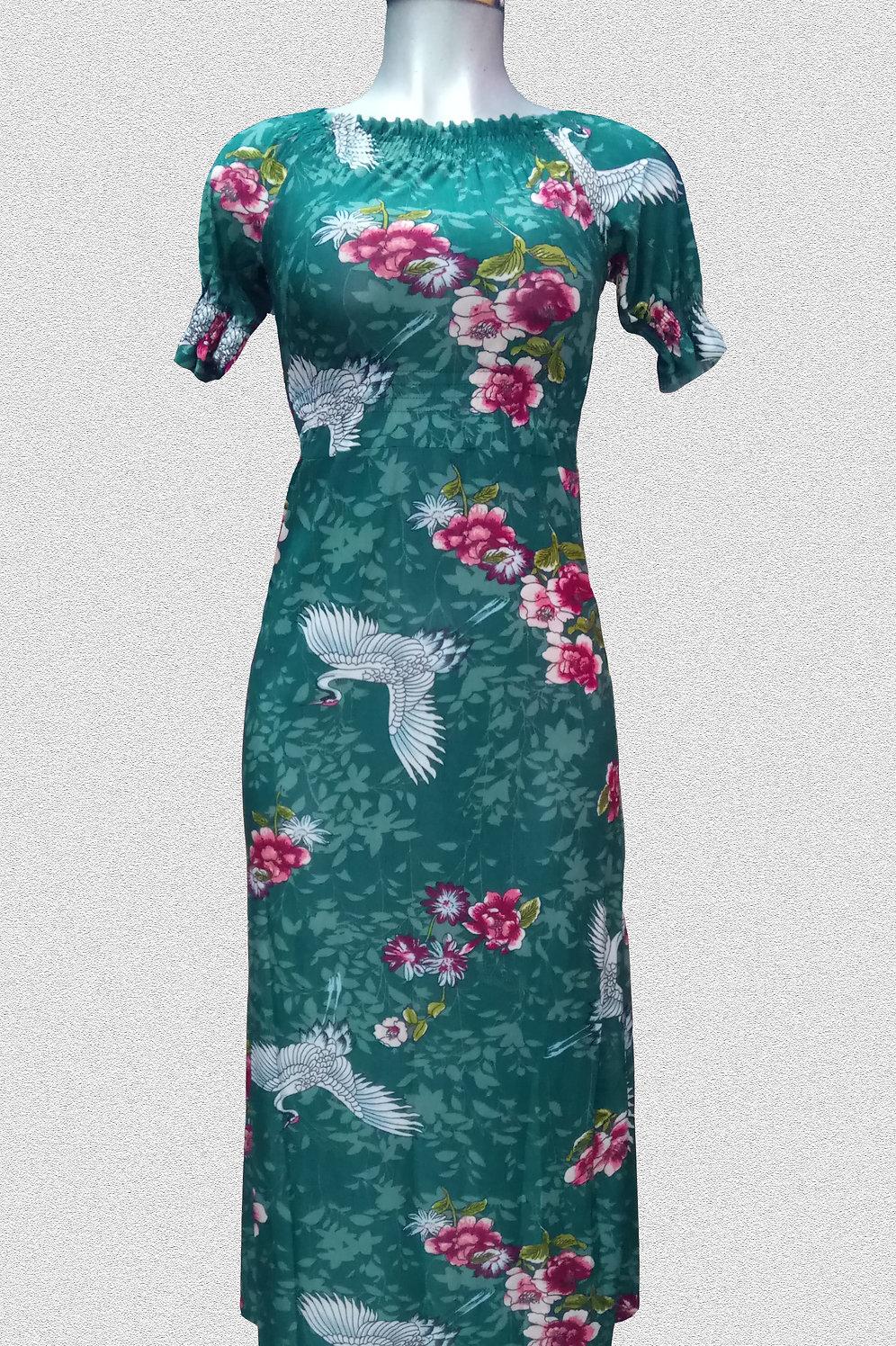 Vestido Verde Bandera Estampado Flores Y Cisnes