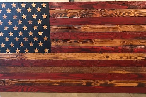 Red and Blue Stained Wooden Flag
