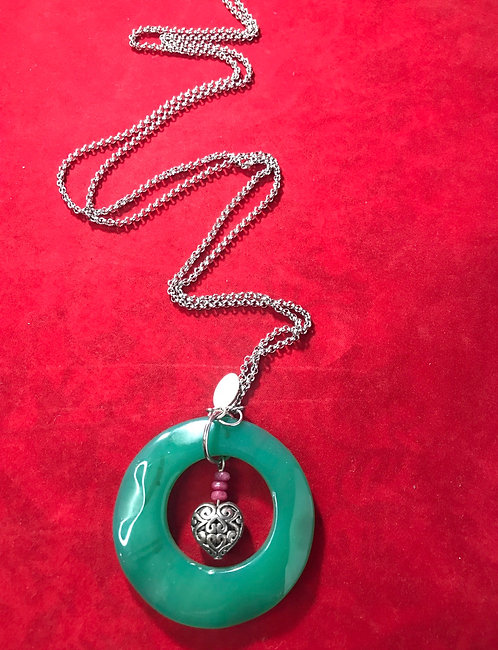 Jade ring chain necklace