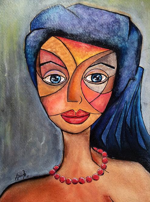The Mosaic Girl Original Watercolor Sold