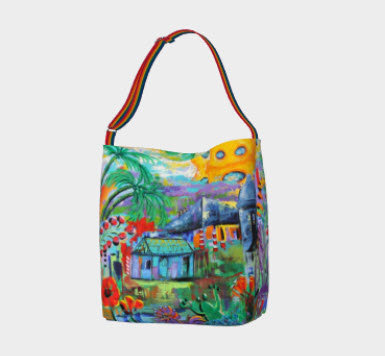 Tropical Vibe Day Tote, Adjustable Belt Strap