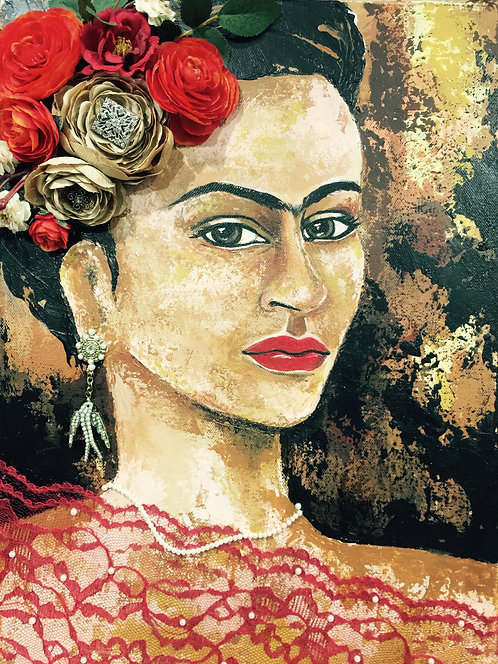 Frida Red Lace 10x14 SOLD