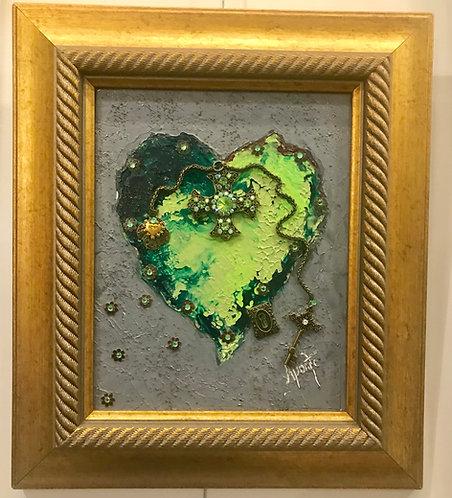 Green vintage heart