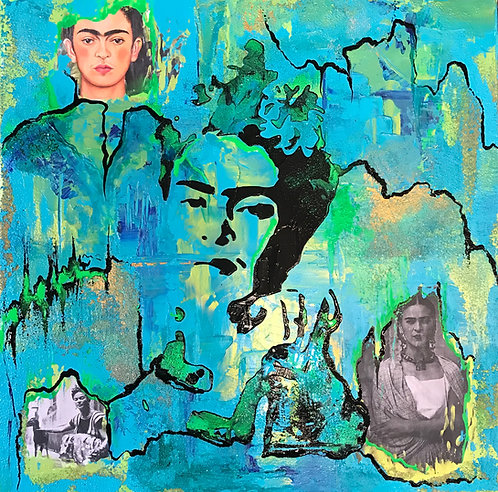 Frida Mixed Media Teal SOLD