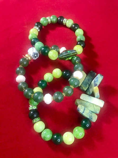 Jade and agate stone bracelet #5