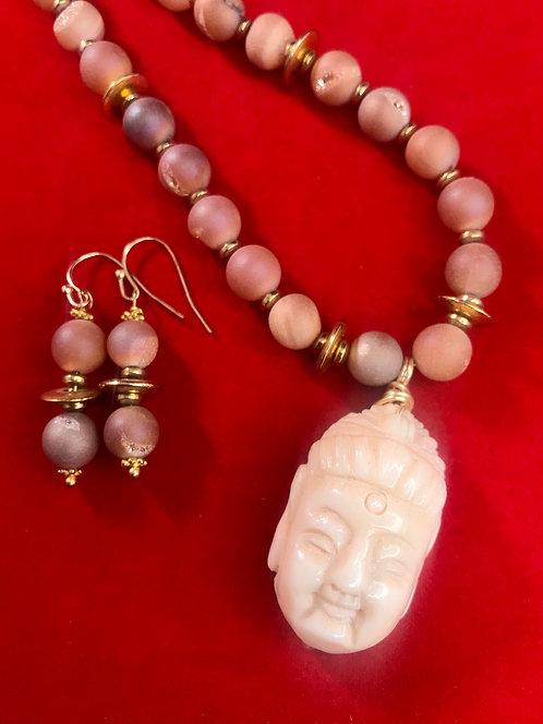 Ivory pendant Buddha druzy beaded necklace set