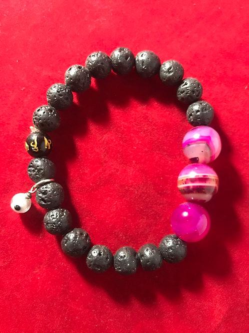 Lava stones agate swirly evil eye charm #13