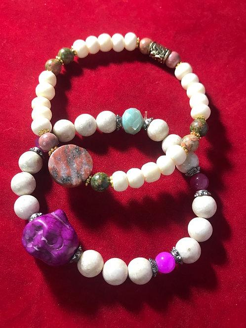 Agate and bone Buddha charm bracelet #12