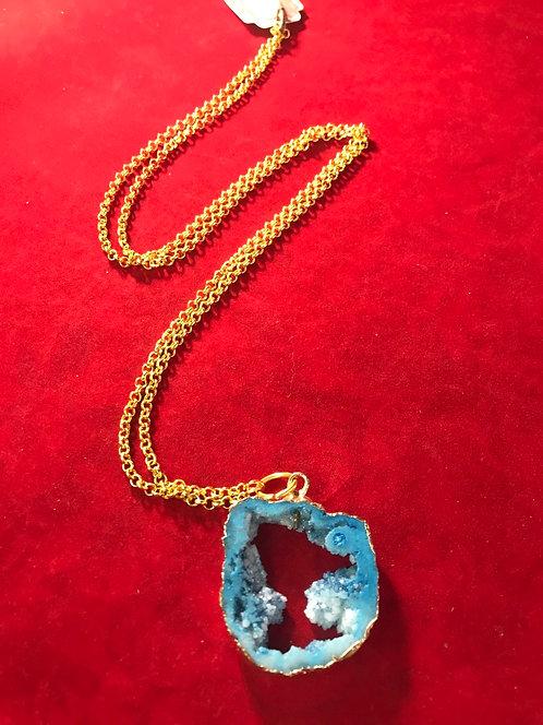 Druzy blue pendant