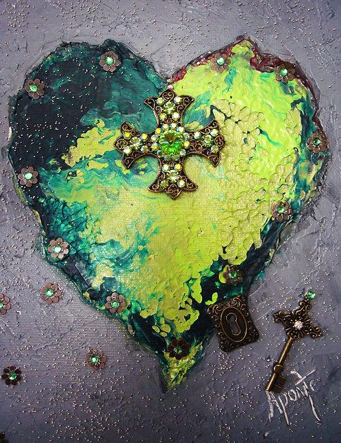 Green Vintage Cross Heart
