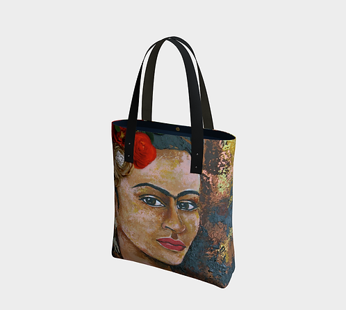 Frida Red tote, Vegan Leather Strap