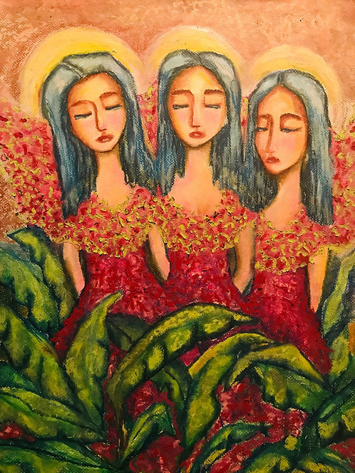 Three Fairies in a Garden