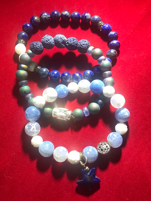 Blue lapis lava and agates #8