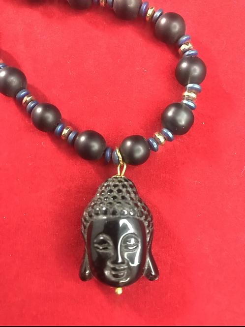 Onyx Buddha pendant necklace