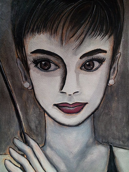 Audrey Hepburn - Watercolor original SOLD