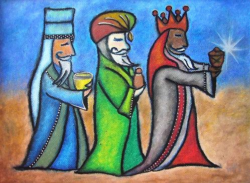 Los Tres Reyes Magos Original Oil Pastel