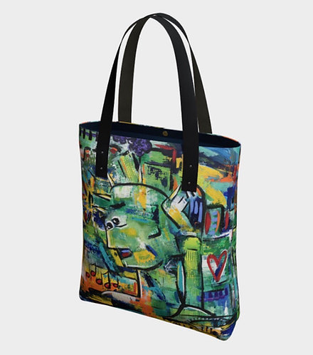 NYC Vibes Tote, Vegan Leather Strap