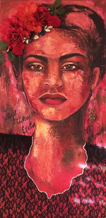 Frida y Rosas 10x20 SOLD