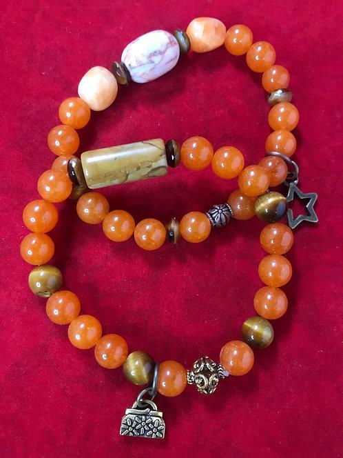 Orange agate star & purse charms #26