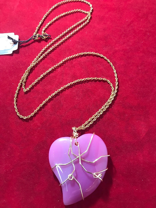 Pink wire wrapped heart