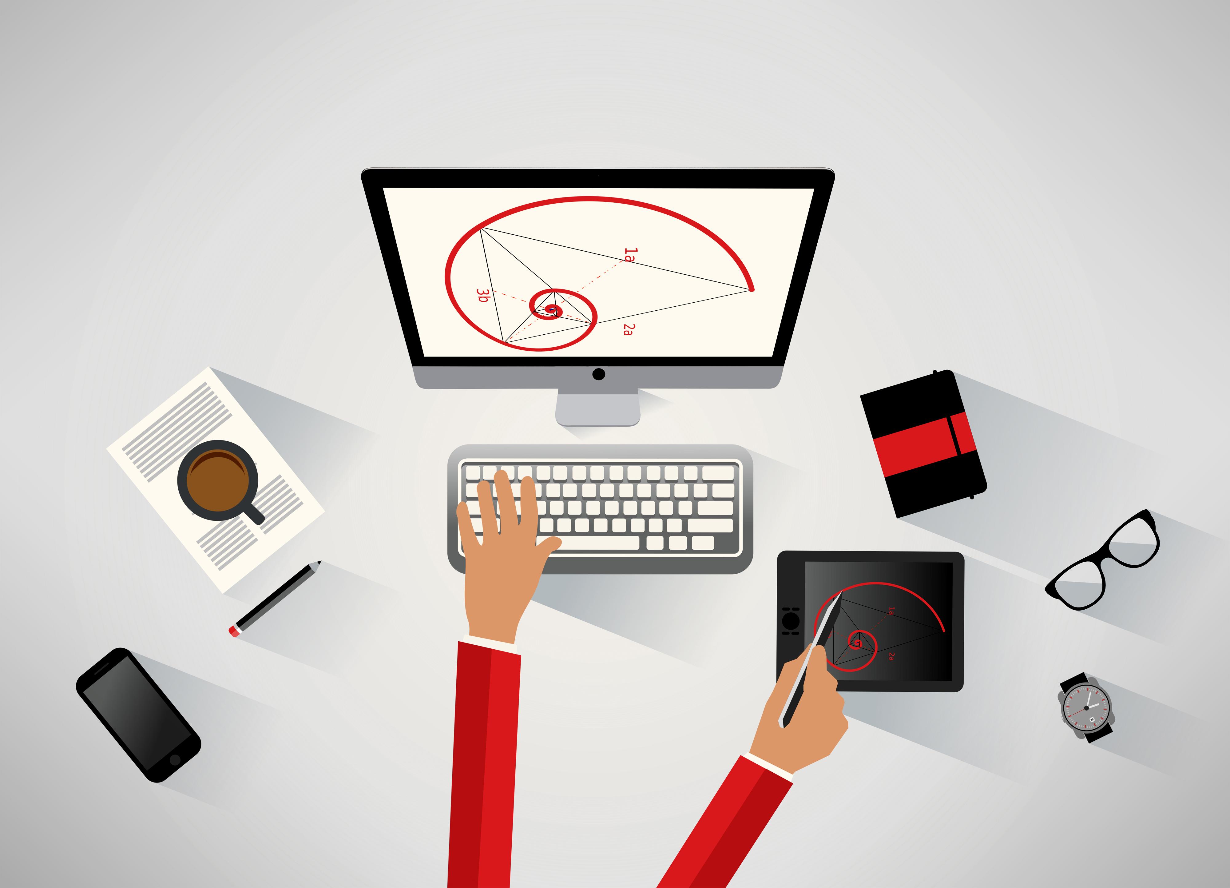 Designer-que-Trabalha-no-Computador-Conceito-de-Desenho-Técnico