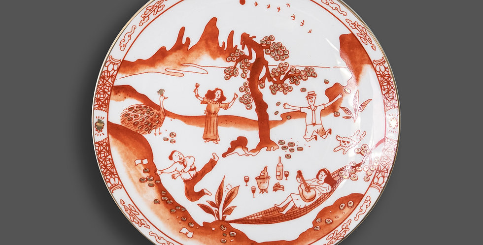 """""""Son of the rich"""" Red-Glazed Plate 「敗家仔」紅瓷碟"""