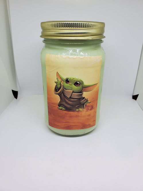 Themed candles in mason jars