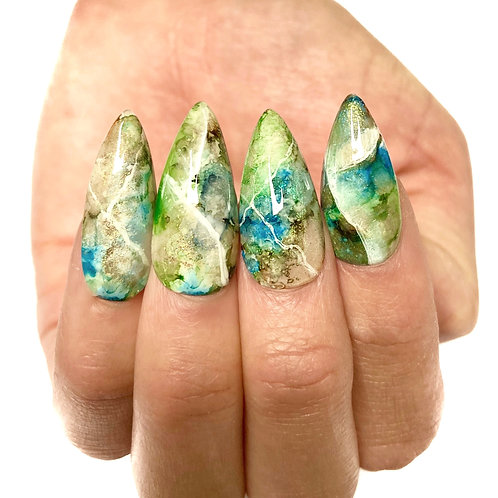Press on nails - Set Design (Green marble)