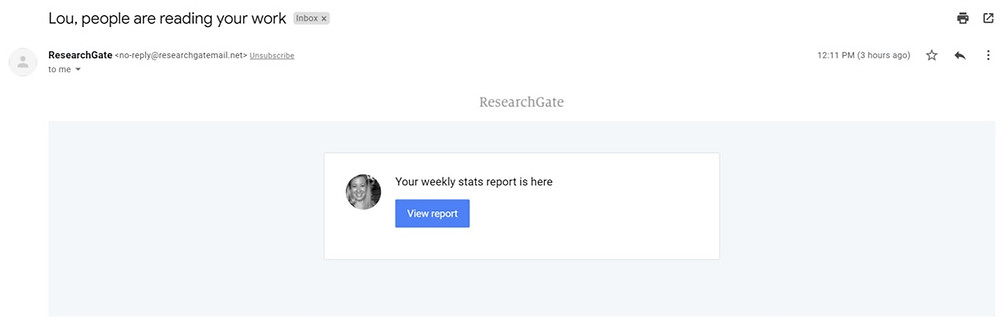 ResearchGate email example