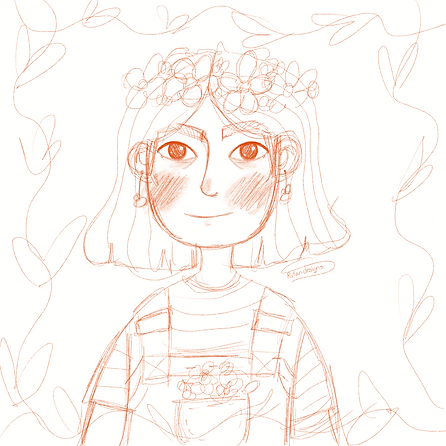 girl with bees and flowers