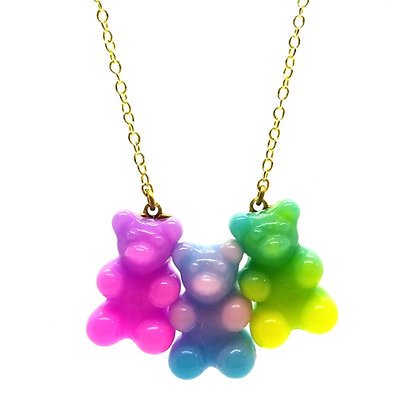 Rainbow Swirl Gummy Bear Necklace