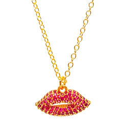 Pave Lips Necklace