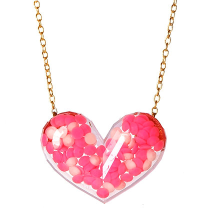 Dotty Heart Necklace - Pink