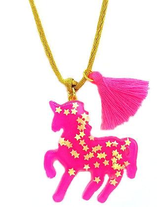 Hot Pink Sparkly Unicorn Pendant