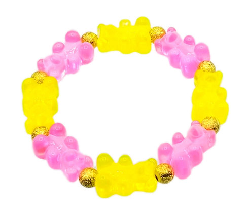 NEW!! Stretch Gummy Bear Bracelet--Yellow and Pink 2 Tone