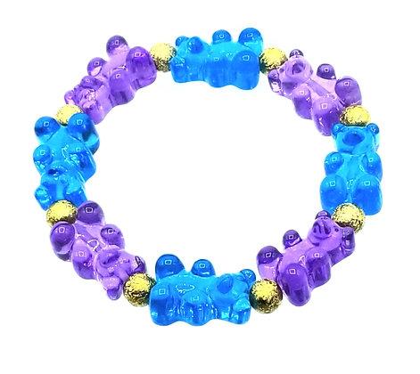 NEW!! Stretch Gummy Bear Bracelet--Blue and Purple 2 Tone
