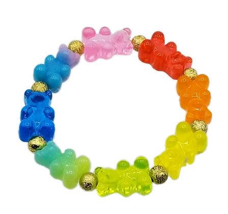 NEW!! Rainbow Stretch Gummy Bear Bracelet